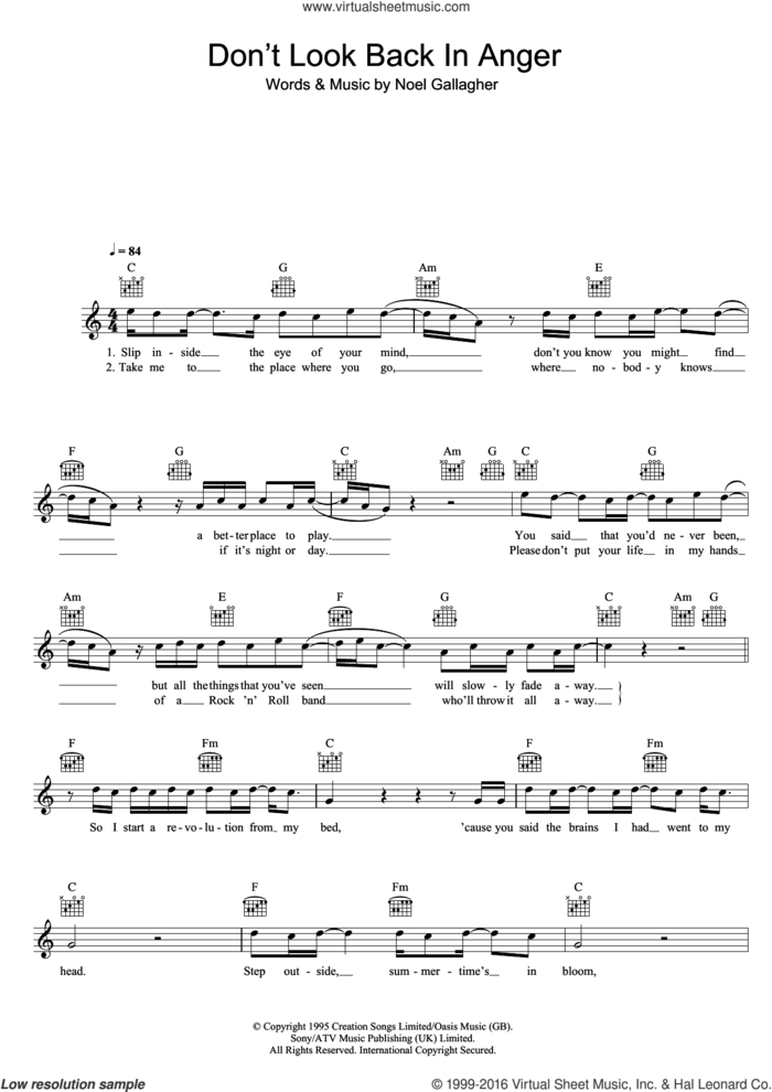 Don't Look Back In Anger sheet music for voice and other instruments (fake book) by Oasis and Noel Gallagher, intermediate skill level