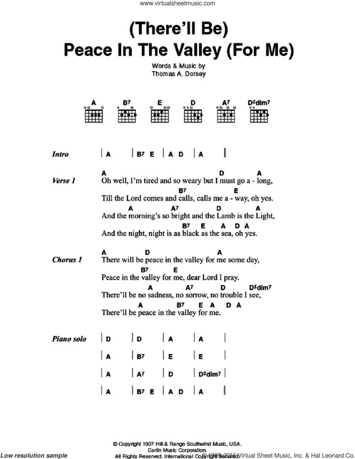 (There'll Be) Peace In The Valley (For Me) sheet music for guitar (chords) by Johnny Cash and Tommy Dorsey, intermediate skill level