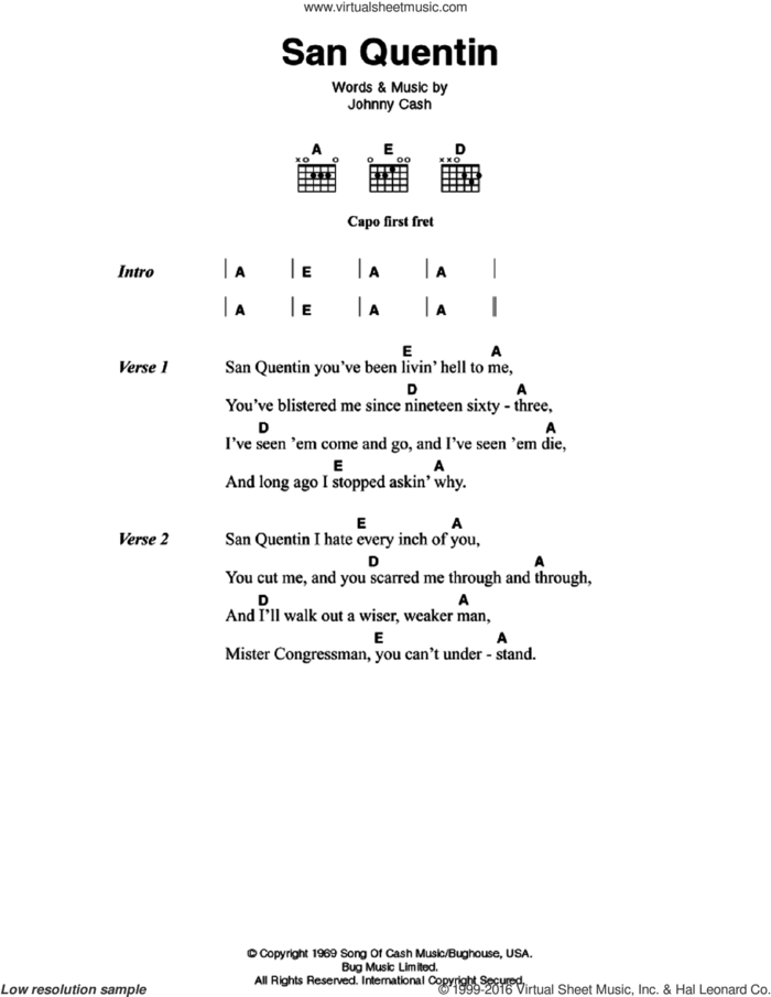 San Quentin sheet music for guitar (chords) by Johnny Cash, intermediate skill level