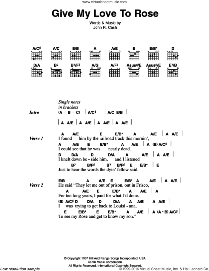 Give My Love To Rose sheet music for guitar (chords) by Johnny Cash, intermediate skill level