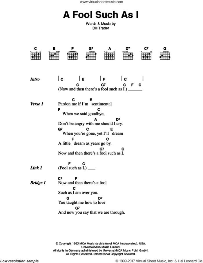 (Now And Then There's) A Fool Such As I sheet music for guitar (chords) by Elvis Presley and Bill Trader, intermediate skill level