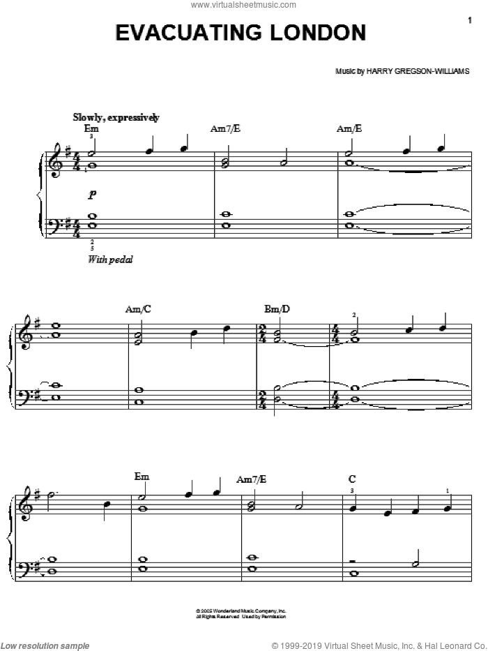 Evacuating London sheet music for piano solo by Harry Gregson-Williams and The Chronicles of Narnia: The Lion, The Witch And The Wardrobe , easy skill level