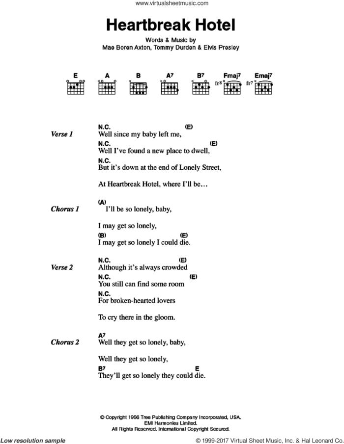Heartbreak Hotel sheet music for guitar (chords) by Elvis Presley, Mae Boren Axton and Tommy Durden, intermediate skill level