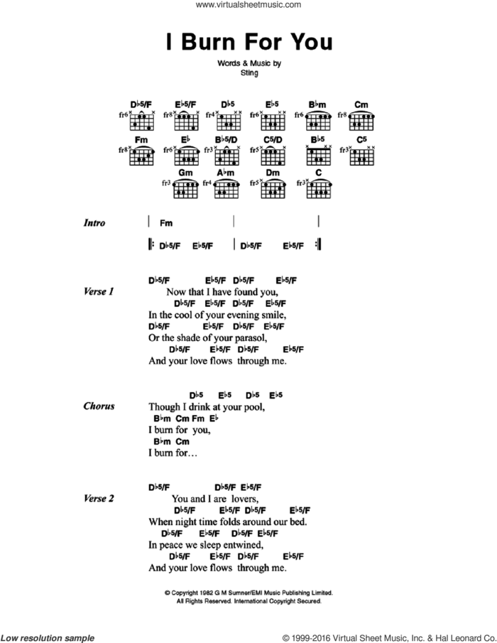 I Burn For You sheet music for guitar (chords) by The Police and Sting, intermediate skill level