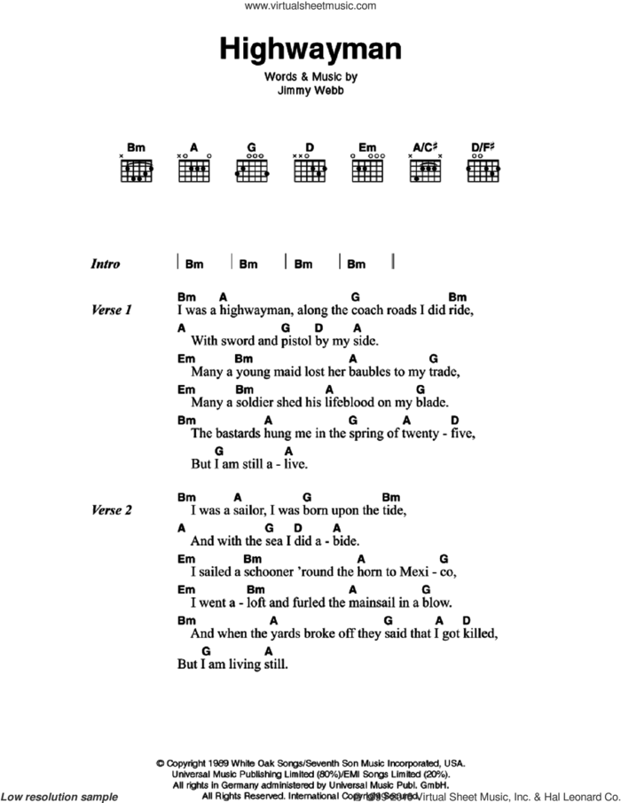 Highwayman sheet music for guitar (chords) by Johnny Cash and Jimmy Webb, intermediate skill level