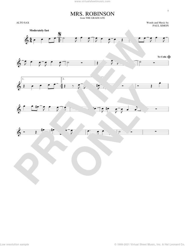 Mrs. Robinson sheet music for alto saxophone solo by Simon & Garfunkel and Paul Simon, intermediate skill level
