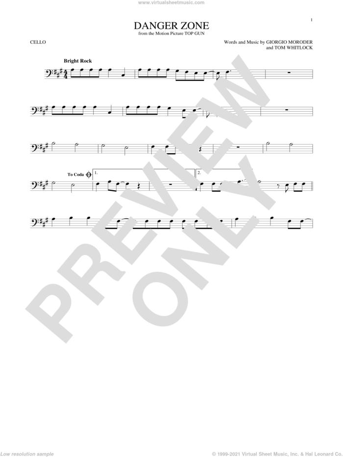 Danger Zone sheet music for cello solo by Kenny Loggins, Giorgio Moroder and Tom Whitlock, intermediate skill level