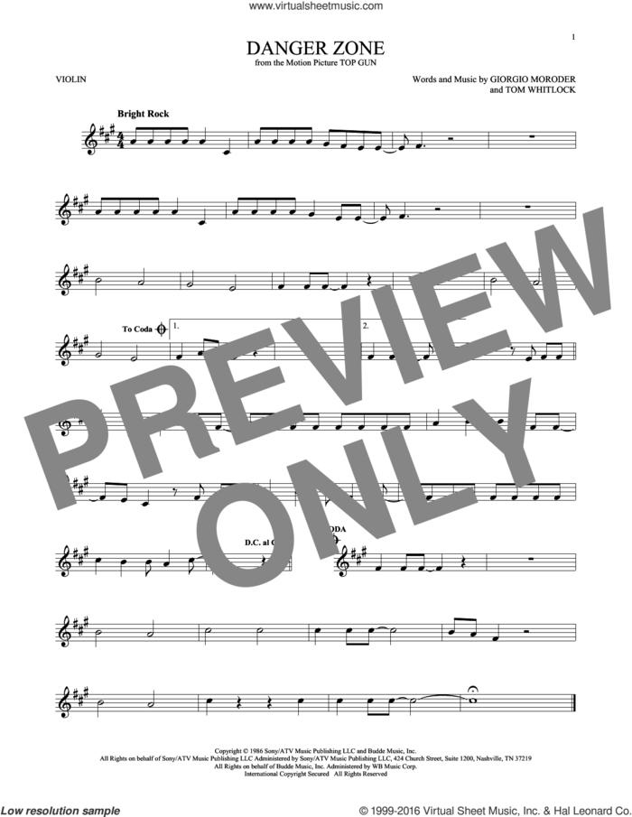 Danger Zone sheet music for violin solo by Kenny Loggins, Giorgio Moroder and Tom Whitlock, intermediate skill level