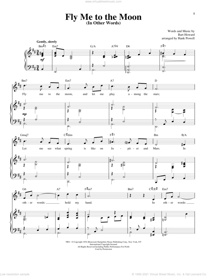 Fly Me To The Moon (In Other Words) sheet music for voice and piano by Frank Sinatra, Tony Bennett, Richard Walters and Bart Howard, wedding score, intermediate skill level