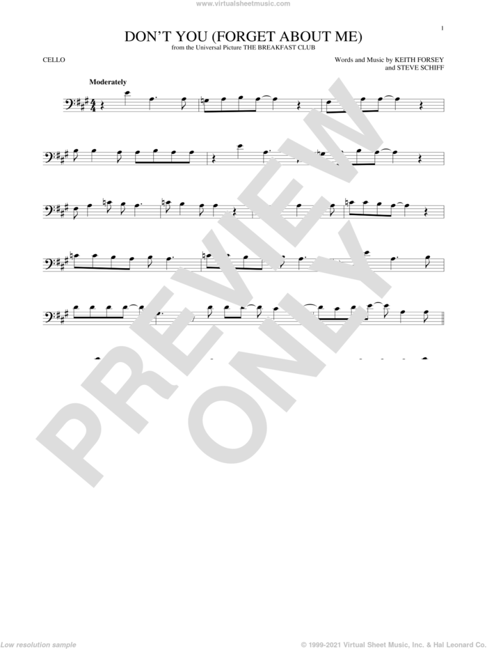 Don't You (Forget About Me) sheet music for cello solo by Simple Minds, Hawk Nelson, Keith Forsey and Steve Schiff, intermediate skill level