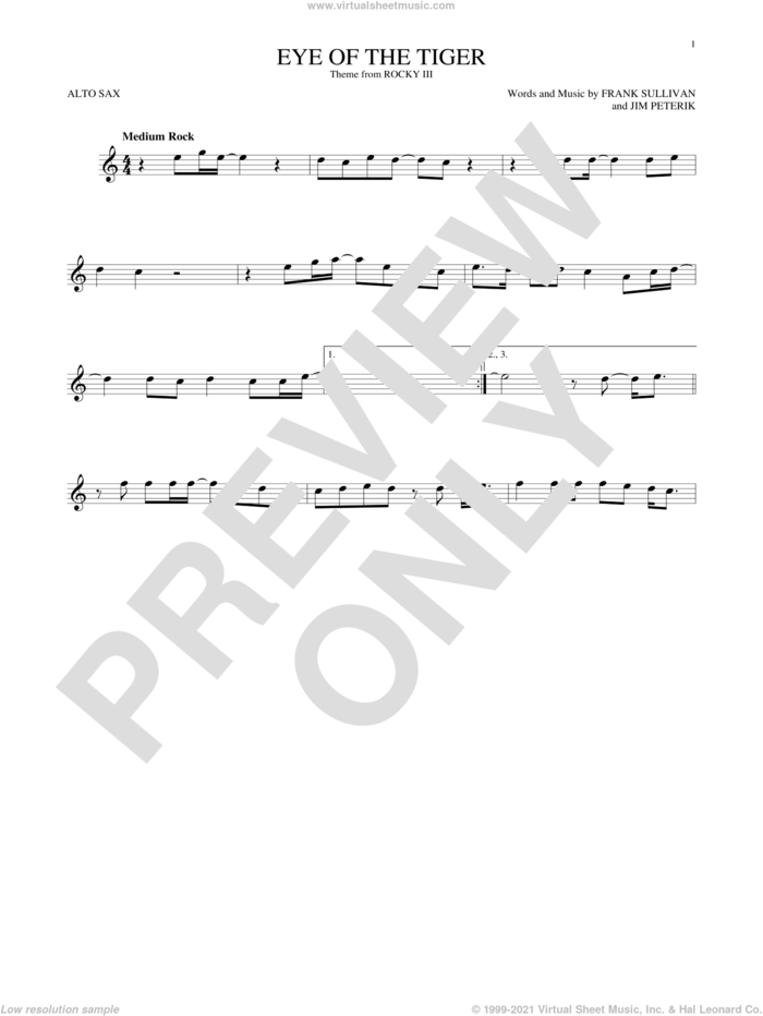 Eye Of The Tiger sheet music for alto saxophone solo by Survivor, Frank Sullivan and Jim Peterik, intermediate skill level