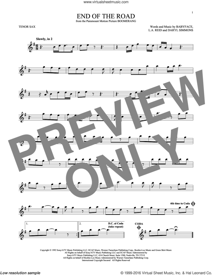 End Of The Road sheet music for tenor saxophone solo by Boyz II Men, Babyface, Daryl Simmons and L.A. Reid, intermediate skill level