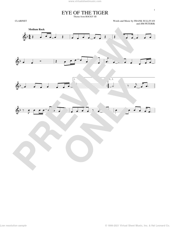 Eye Of The Tiger sheet music for clarinet solo by Survivor, Frank Sullivan and Jim Peterik, intermediate skill level