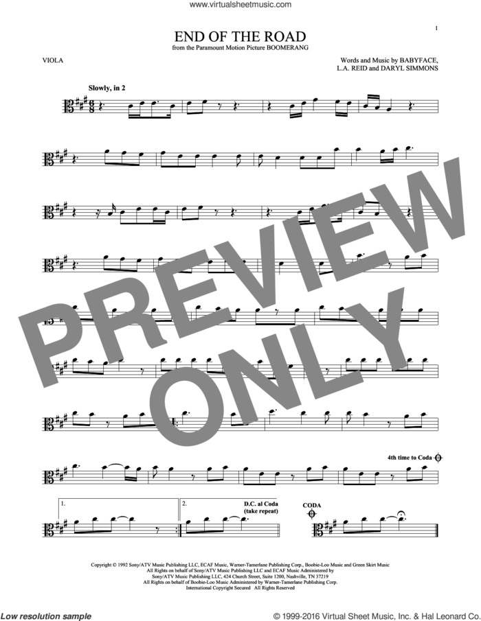 End Of The Road sheet music for viola solo by Boyz II Men, Babyface, DARYL SIMMONS and L.A. Reid, intermediate skill level