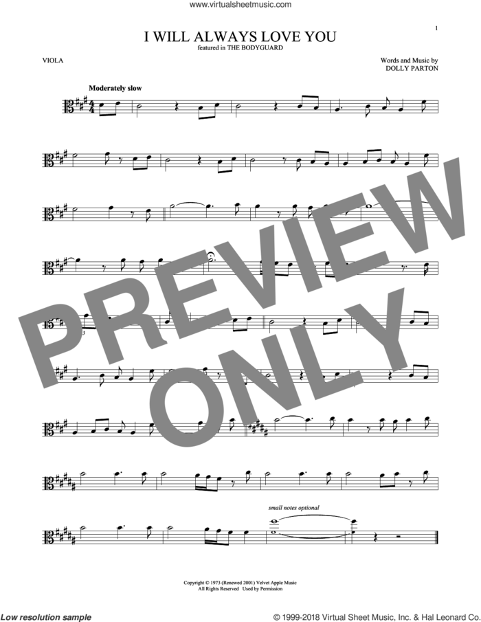 I Will Always Love You sheet music for viola solo by Whitney Houston and Dolly Parton, wedding score, intermediate skill level