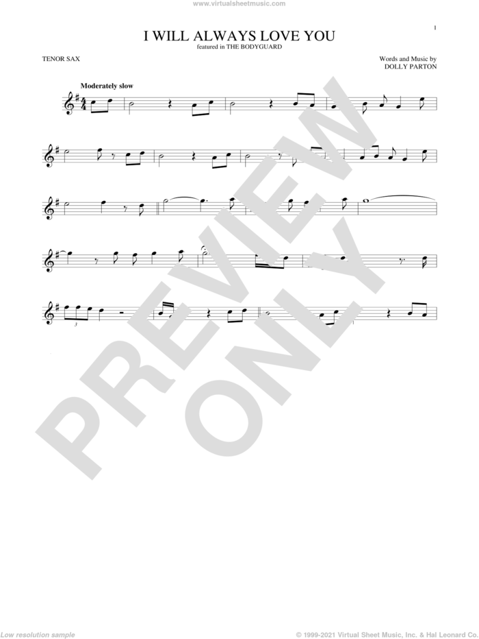 I Will Always Love You sheet music for tenor saxophone solo by Whitney Houston and Dolly Parton, wedding score, intermediate skill level