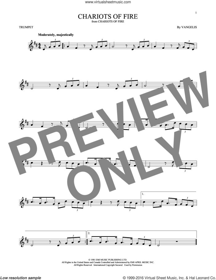 Chariots Of Fire sheet music for trumpet solo by Vangelis, intermediate skill level