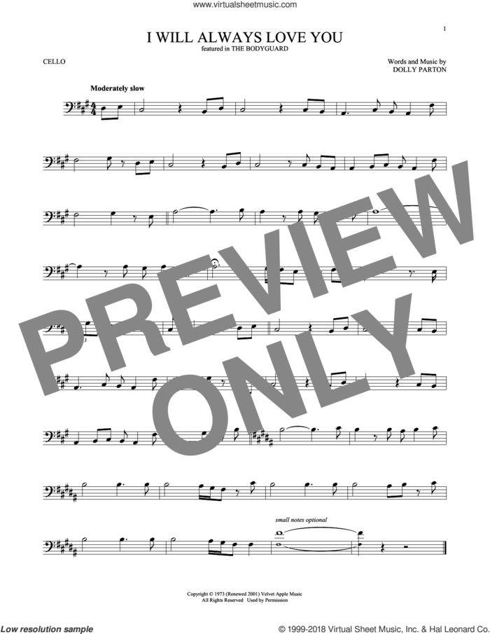 I Will Always Love You sheet music for cello solo by Whitney Houston and Dolly Parton, wedding score, intermediate skill level
