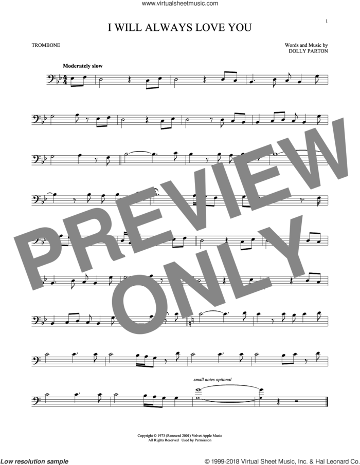I Will Always Love You sheet music for trombone solo by Whitney Houston and Dolly Parton, wedding score, intermediate skill level