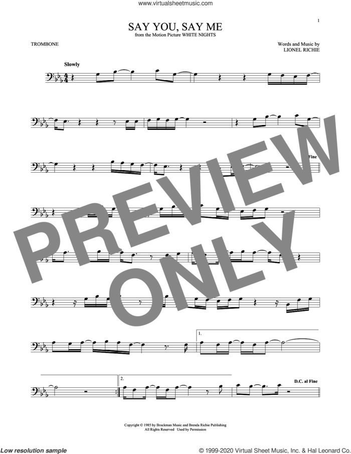 Say You, Say Me sheet music for trombone solo by Lionel Richie, intermediate skill level