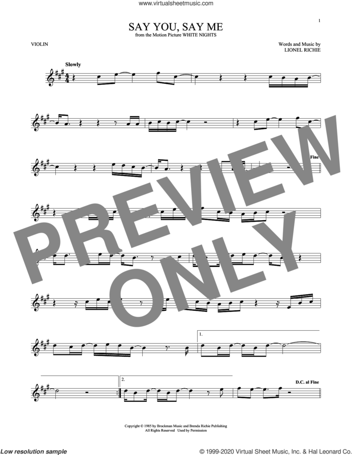Say You, Say Me sheet music for violin solo by Lionel Richie, intermediate skill level