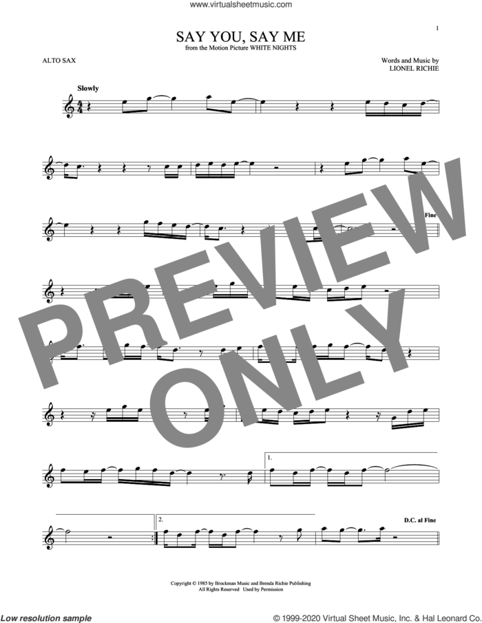 Say You, Say Me sheet music for alto saxophone solo by Lionel Richie, intermediate skill level