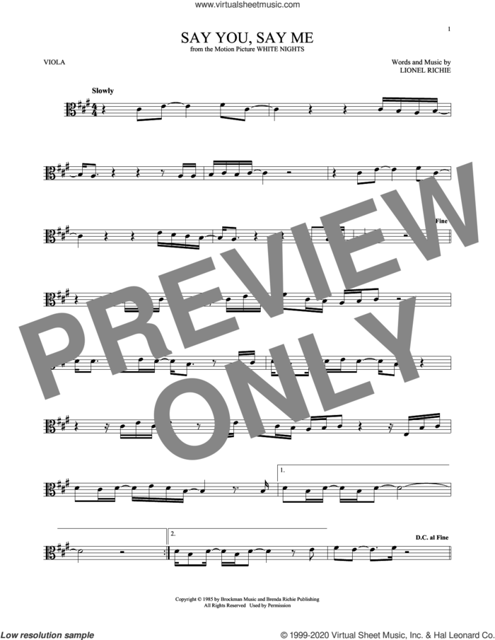 Say You, Say Me sheet music for viola solo by Lionel Richie, intermediate skill level