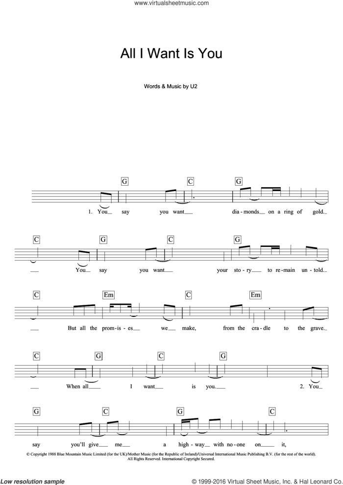All I Want Is You sheet music for piano solo (chords, lyrics, melody) by U2, intermediate piano (chords, lyrics, melody)