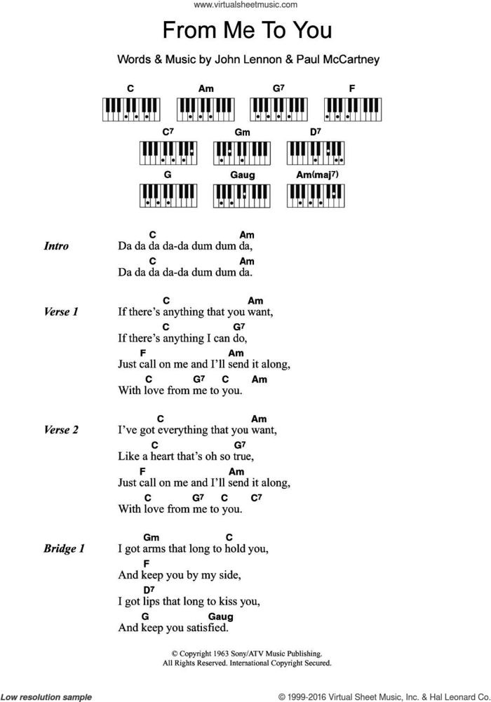 From Me To You sheet music for piano solo (chords, lyrics, melody) by The Beatles, John Lennon and Paul McCartney, intermediate piano (chords, lyrics, melody)