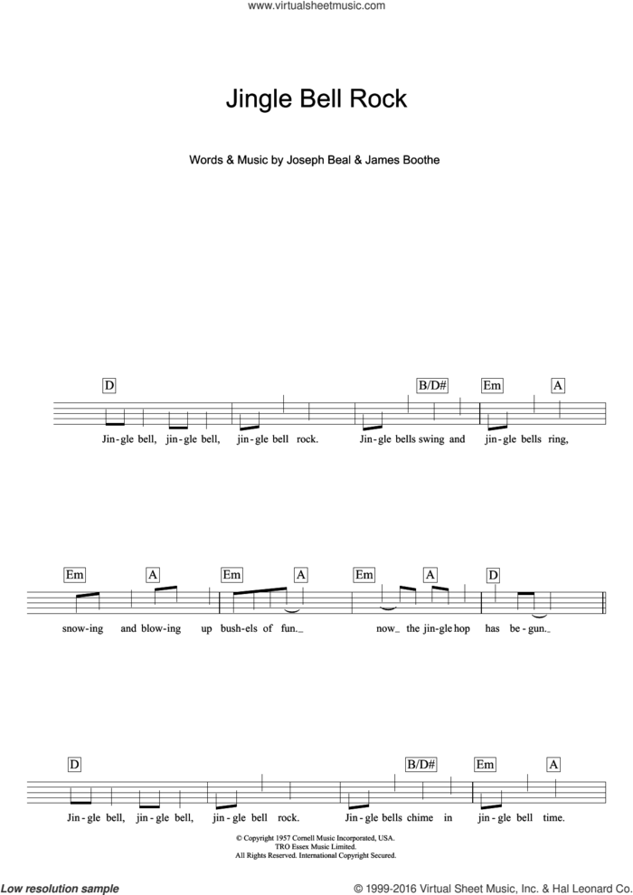 Jingle Bell Rock sheet music for voice and other instruments (fake book) by Chubby Checker, James Boothe and Joe Beal, intermediate skill level