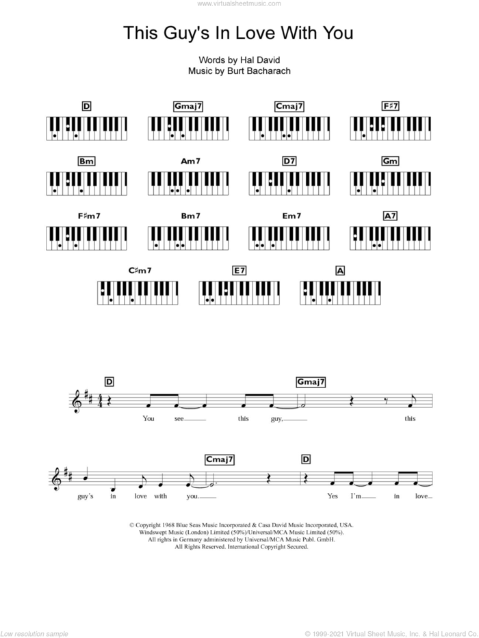 This Guy's In Love With You sheet music for piano solo (chords, lyrics, melody) by Bacharach & David, Burt Bacharach and Hal David, intermediate piano (chords, lyrics, melody)