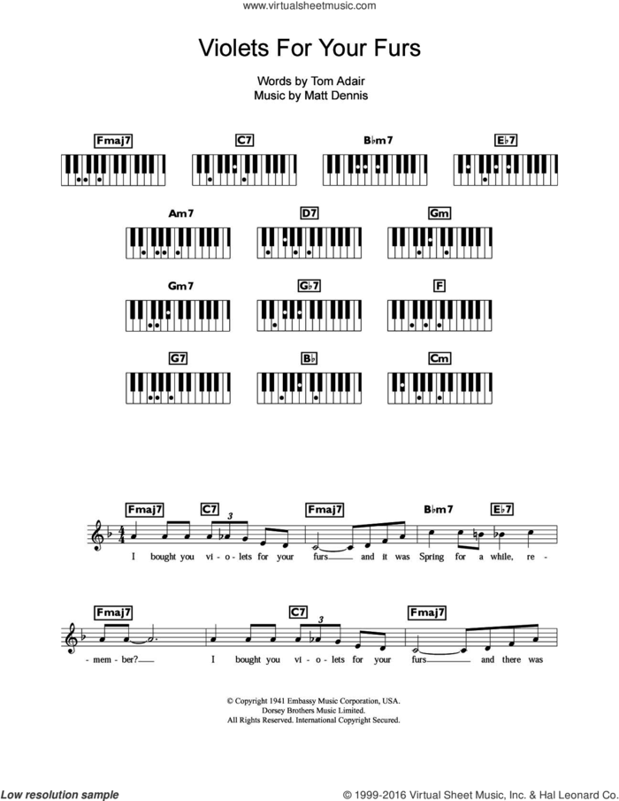 Violets For Your Furs sheet music for piano solo (chords, lyrics, melody) by Frank Sinatra, Matt Dennis and Tom Adair, intermediate piano (chords, lyrics, melody)