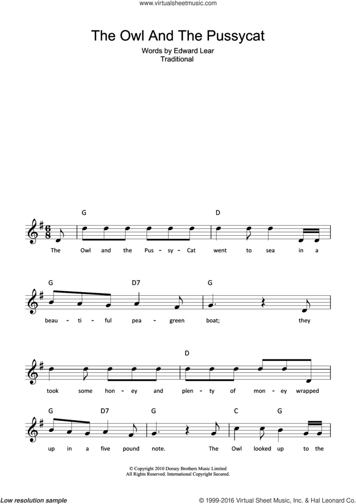 The Owl And The Pussycat sheet music for voice and other instruments (fake book) by Edward Lear and Miscellaneous, intermediate skill level