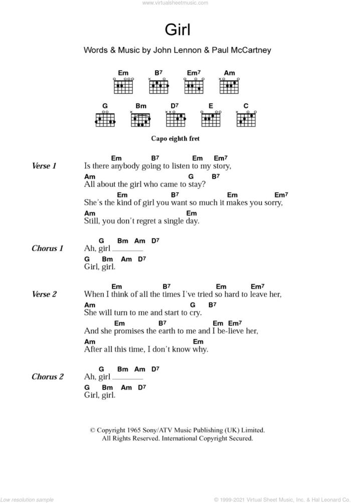 Girl sheet music for guitar (chords) by The Beatles, John Lennon and Paul McCartney, intermediate skill level