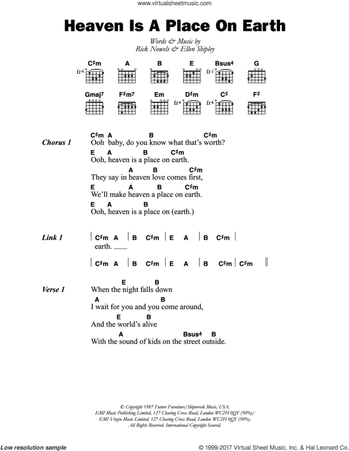 Heaven Is A Place On Earth sheet music for guitar (chords) by Belinda Carlisle, Ellen Shipley and Rick Nowels, intermediate skill level