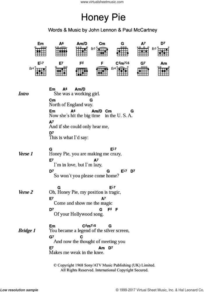 Honey Pie sheet music for guitar (chords) by The Beatles, John Lennon and Paul McCartney, intermediate skill level