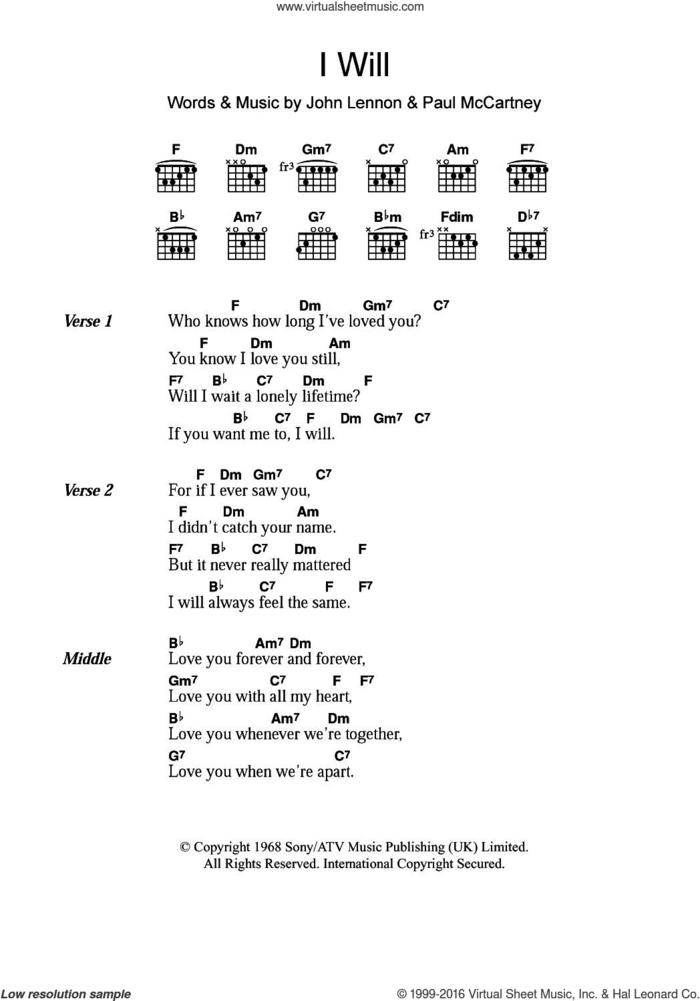 I Will sheet music for guitar (chords) by The Beatles, Paul McCartney and John Lennon, intermediate skill level