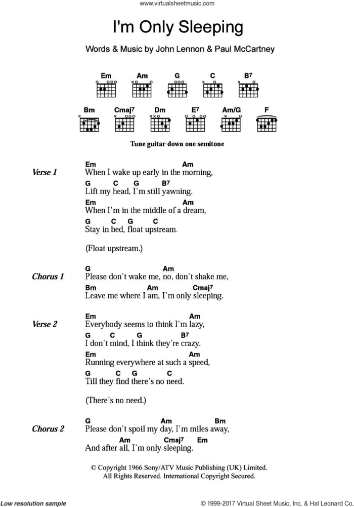 I'm Only Sleeping sheet music for guitar (chords) by The Beatles, John Lennon and Paul McCartney, intermediate skill level