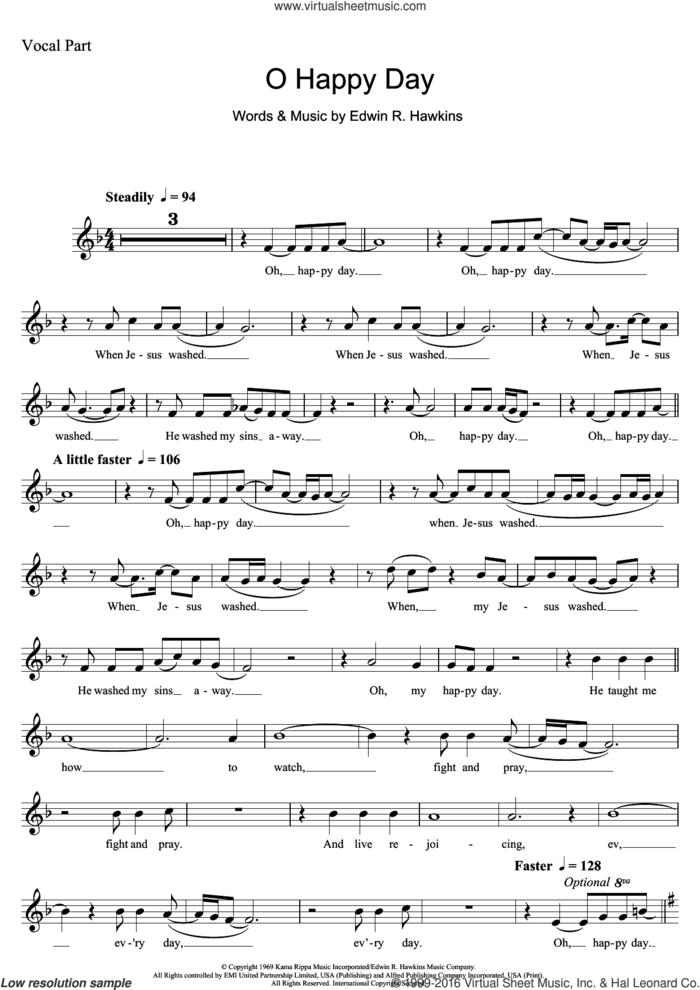 Oh Happy Day sheet music for voice and other instruments (fake book) by The Edwin Hawkins Singers and Edwin R. Hawkins, intermediate skill level