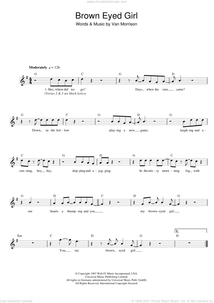 Brown Eyed Girl sheet music for voice and other instruments (fake book) by Van Morrison, intermediate skill level