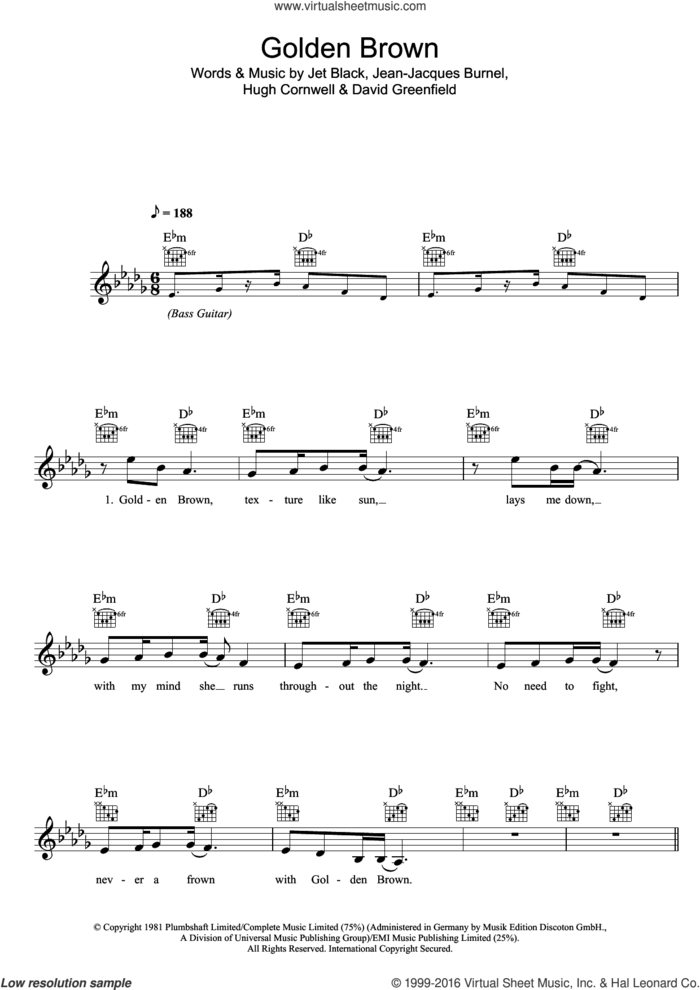 Golden Brown sheet music for voice and other instruments (fake book) by The Stranglers, David Greenfield, Hugh Cornwell, Jean-Jacques Burnel and Jet Black, intermediate skill level