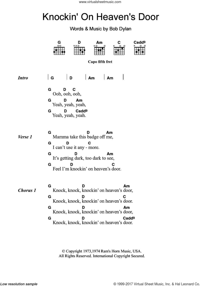 Knockin' On Heaven's Door sheet music for guitar (chords) by Avril Lavigne, Bob Dylan and Eric Clapton, intermediate skill level