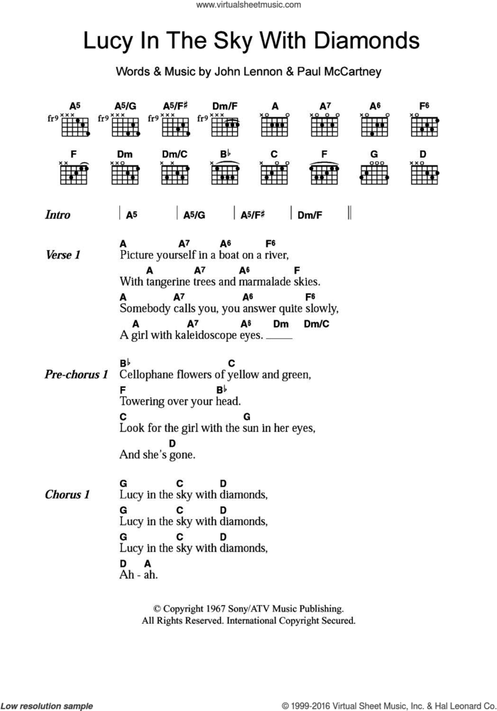 Lucy In The Sky With Diamonds sheet music for guitar (chords) by The Beatles, John Lennon and Paul McCartney, intermediate skill level