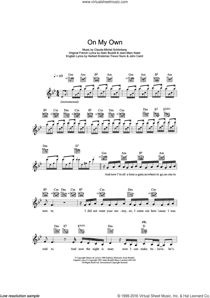 On My Own (from Les Miserables) sheet music for voice and other instruments (fake book) by Claude-Michel Schonberg, Alain Boublil, Herbert Kretzmer, Jean-Marc Natel, John Caird and Trevor Nunn, intermediate skill level