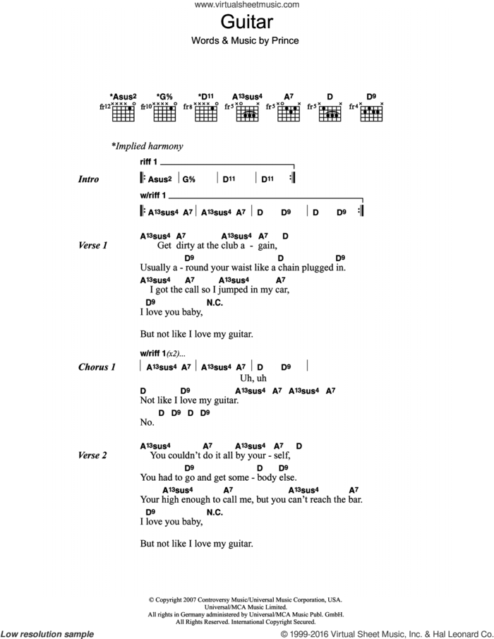 Guitar sheet music for guitar (chords) by Prince, intermediate skill level