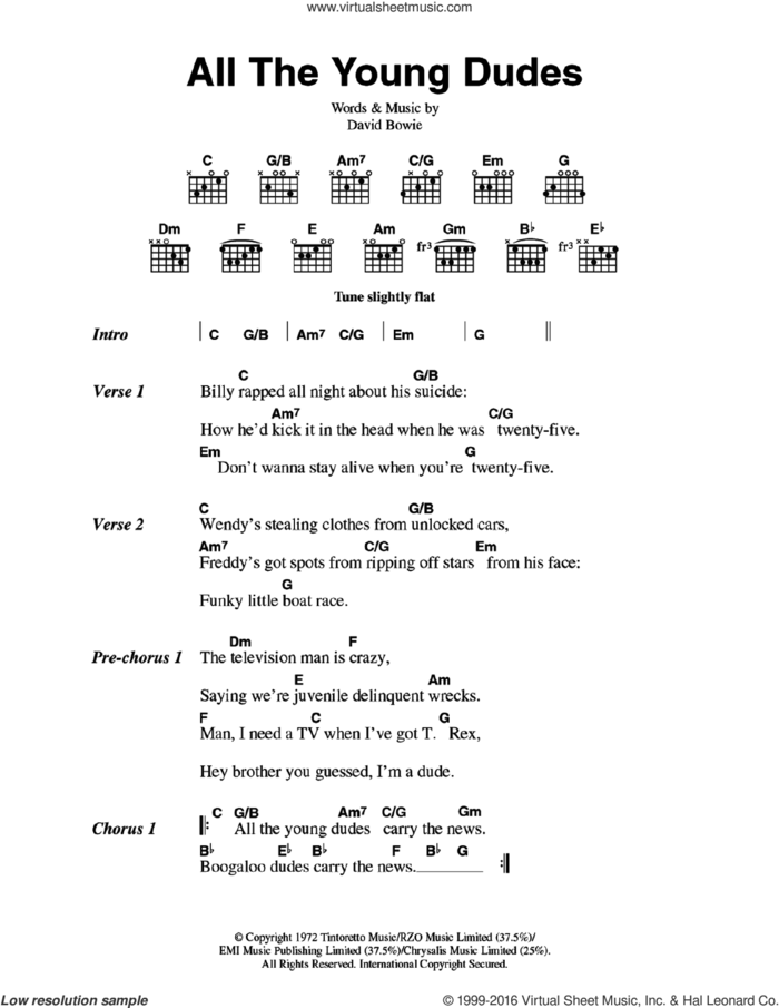 All The Young Dudes sheet music for guitar (chords) by David Bowie, intermediate skill level