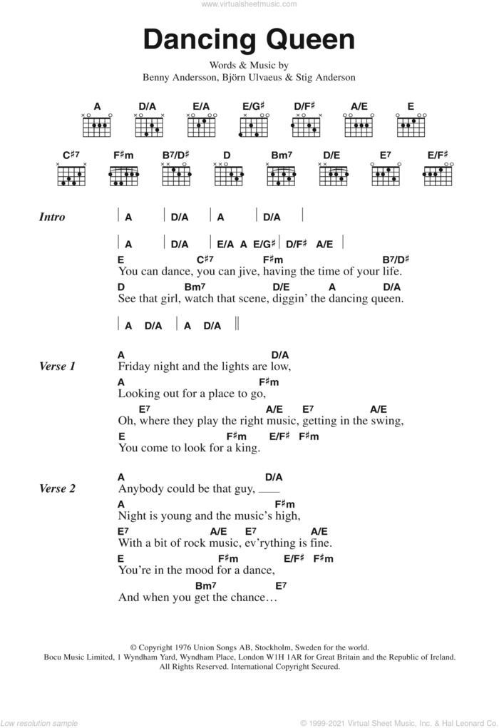 Dancing Queen sheet music for guitar (chords) by ABBA, Benny Andersson, Bjorn Ulvaeus and Stig Anderson, intermediate skill level
