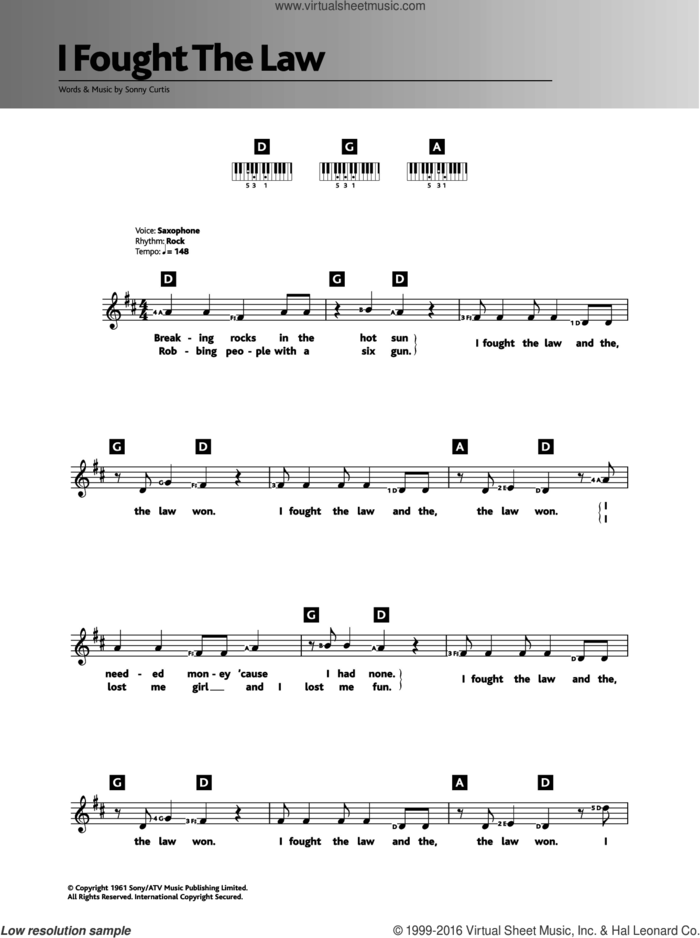 I Fought The Law sheet music for piano solo (chords, lyrics, melody) by The Clash and Sonny Curtis, intermediate piano (chords, lyrics, melody)