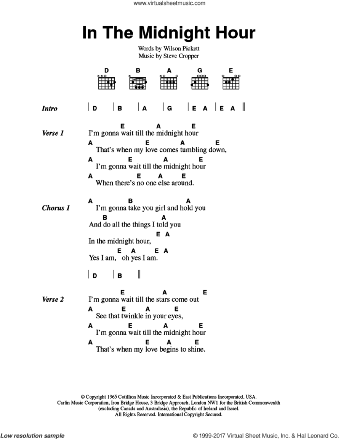 In The Midnight Hour sheet music for guitar (chords) by Wilson Pickett and Steve Cropper, intermediate skill level