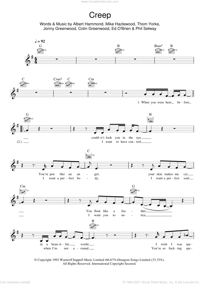 Creep sheet music for voice and other instruments (fake book) by Radiohead, Albert Hammond, Colin Greenwood, Jonny Greenwood, Michael Hazlewood, Phil Selway and Thom Yorke, intermediate skill level
